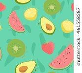seamless pattern with lemons ... | Shutterstock .eps vector #461558287