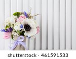 pastel bouquet from pink tulips ... | Shutterstock . vector #461591533