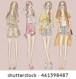 street fashion models set in... | Shutterstock .eps vector #461598487