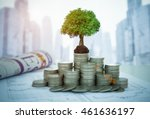 the tree are growing on money... | Shutterstock . vector #461636197