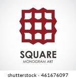 square of monogram art abstract ... | Shutterstock .eps vector #461676097