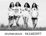 black and white image of group... | Shutterstock . vector #461682097