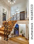 staircase with wrought iron... | Shutterstock . vector #461685223