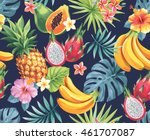 seamless pattern with tropical... | Shutterstock .eps vector #461707087