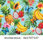 seamless pattern with tropical... | Shutterstock .eps vector #461707147