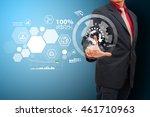 business man touch the power... | Shutterstock . vector #461710963