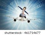 little boy riding airplane... | Shutterstock . vector #461714677