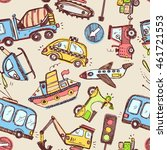 funny cars. kids seamless... | Shutterstock .eps vector #461721553