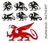 heraldic griffin emblem set and ... | Shutterstock .eps vector #461742397