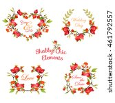 pomegranates floral banners and ... | Shutterstock .eps vector #461792557