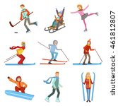 people doing winter sports... | Shutterstock .eps vector #461812807