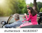 a cheerful couple going on a... | Shutterstock . vector #461820037