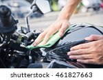 hand with man cleaning... | Shutterstock . vector #461827663