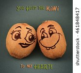 "Small photo of Funny pun card. ""You hold the KIWI to my heart!"""