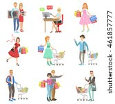 people shopping for clothes and ... | Shutterstock .eps vector #461857777