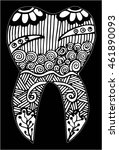 hand drawn  tooth doodle style...