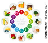 vitamin food sources. colorful... | Shutterstock .eps vector #461907457