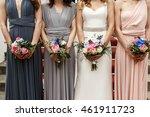 bride and bridesmaids in pastel ... | Shutterstock . vector #461911723