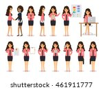 set of working people on white...   Shutterstock .eps vector #461911777