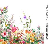abstract flowers watercolor... | Shutterstock . vector #461916763