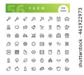 set of 56 farm line icons... | Shutterstock .eps vector #461922973