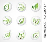 set of green leaves. element... | Shutterstock .eps vector #461935417