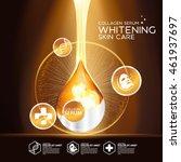 gold collagen serum background... | Shutterstock .eps vector #461937697