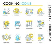 cooking icons  thin line flat... | Shutterstock .eps vector #461940937