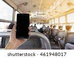hand holding black mobile smart ... | Shutterstock . vector #461948017