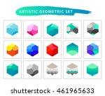 artistic geometric set. flat... | Shutterstock . vector #461965633