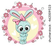 greeting card bunny girl with... | Shutterstock .eps vector #462009523