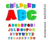 children abc. large letters in... | Shutterstock .eps vector #462010513