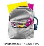 full schoolbag isolated on...   Shutterstock . vector #462017497