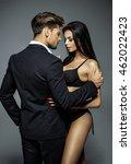 handsome man in black suit... | Shutterstock . vector #462022423