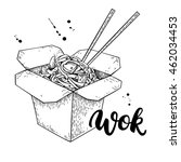 wok vector drawing with... | Shutterstock .eps vector #462034453