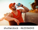 male runner sweaty and thirsty... | Shutterstock . vector #462036043