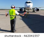 ground crew in the signal vest. ... | Shutterstock . vector #462041557