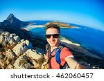 man traveler with backpack... | Shutterstock . vector #462060457