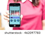 woman holding smart phone... | Shutterstock . vector #462097783