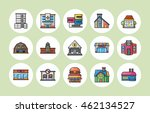colorful building icons set... | Shutterstock .eps vector #462134527