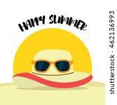 summer illustration. beach hat... | Shutterstock .eps vector #462136993