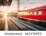 modern high speed red passenger