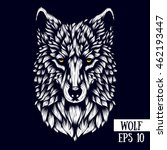 patterned head of the wolf ... | Shutterstock .eps vector #462193447