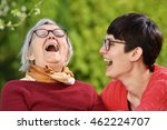 grandmother and granddaughter.... | Shutterstock . vector #462224707