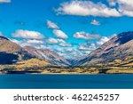 View across Lake Wakatipu, South Island, New Zealand, to the mountains beyond.