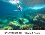 young woman snorkeling in the... | Shutterstock . vector #462257137