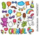 carnival party kawaii set. cute ... | Shutterstock .eps vector #462260017
