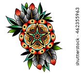 old school tattoo art flowers... | Shutterstock . vector #462355963