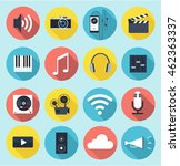 multimedia flat icons with long ... | Shutterstock .eps vector #462363337
