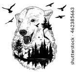 vector double exposure  bear... | Shutterstock .eps vector #462385663